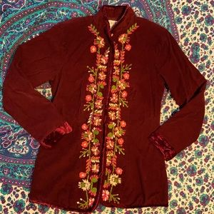 KAS Designs embroidered floral corduroy jacket VTG